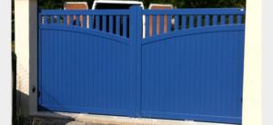 Portail coulissant ALU bleu