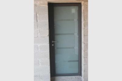 Porte d'entrée vitrée ALU sablée contemporain