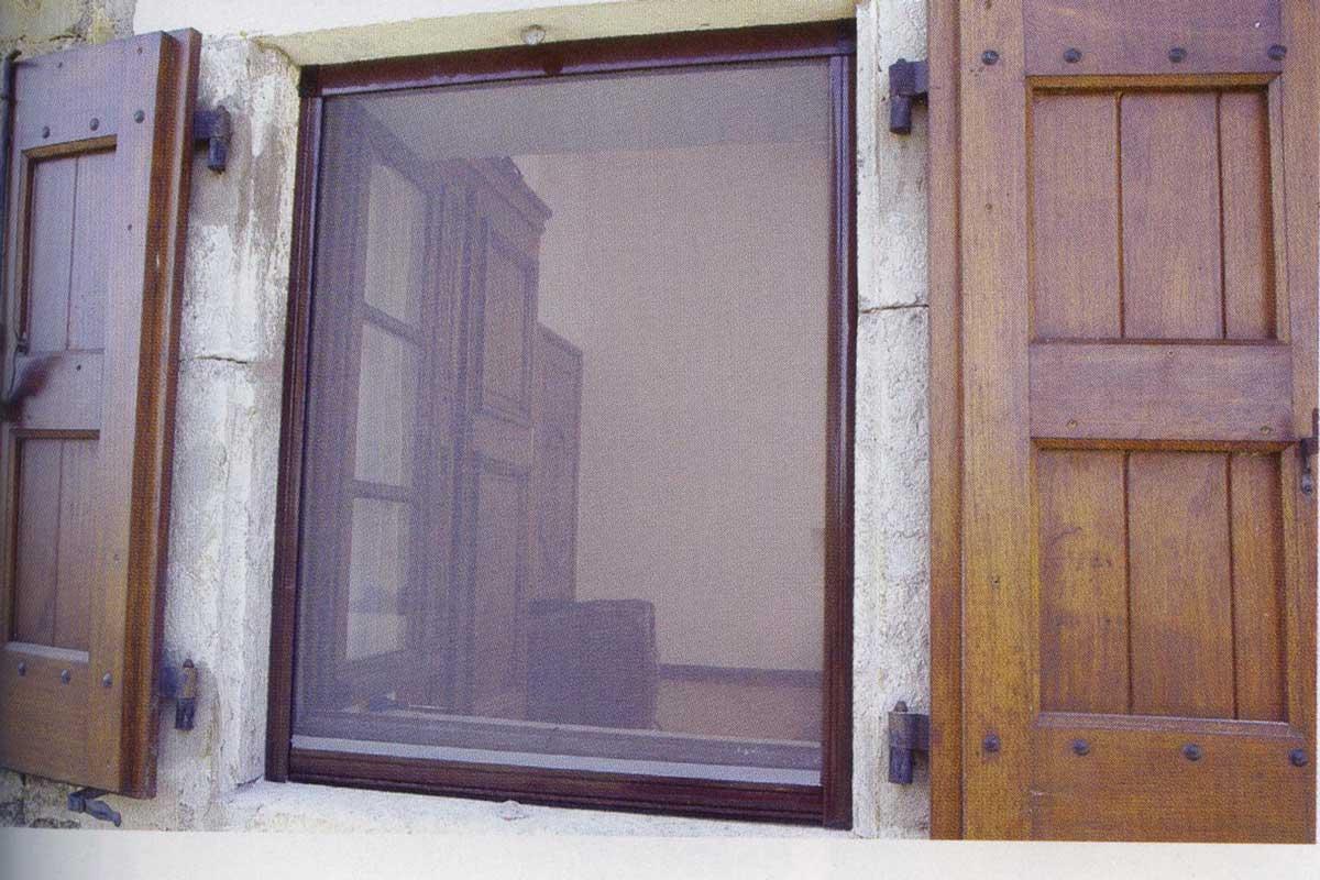 Moustiquaire enroulable cadre marron