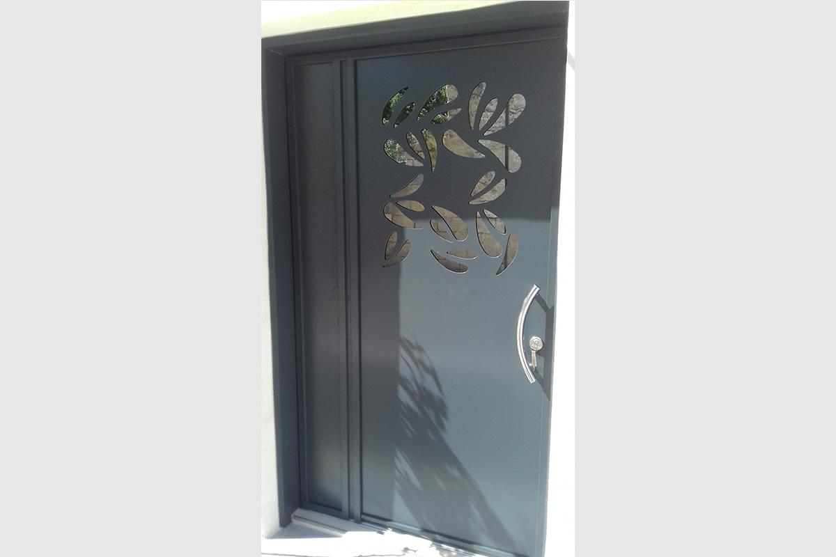 Photo Porte d'entrée en aluminium gris
