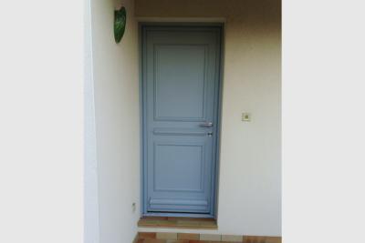 Porte entrée en aluminium gris