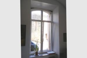 Fenêtre cintrée en aluminium bicolore avec faux meneau