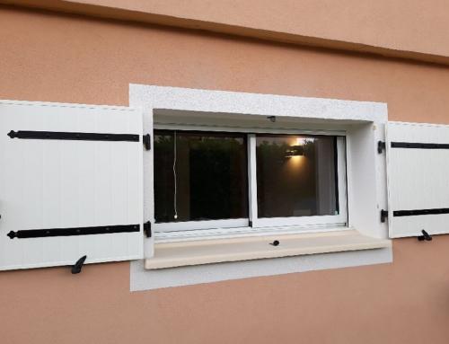 Fenêtre coulissante en aluminium et volet battant aluminium