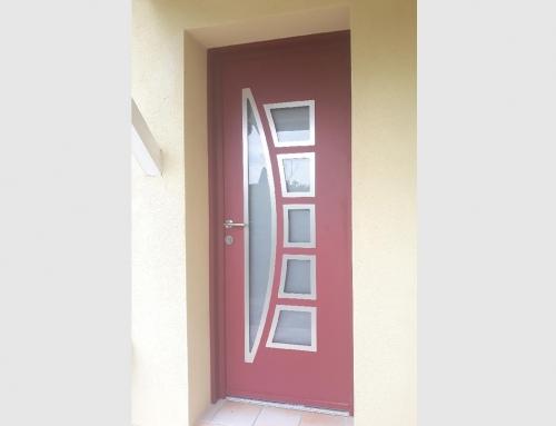 Porte d'entrée en aluminium bicolore
