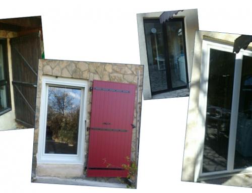 Fenêtre et porte-fenêtre en PVC blanc et volet en aluminium rouge