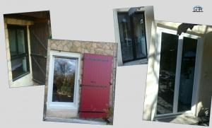 Fenêtres en PVC blanc et volets battants en aluminium rouge