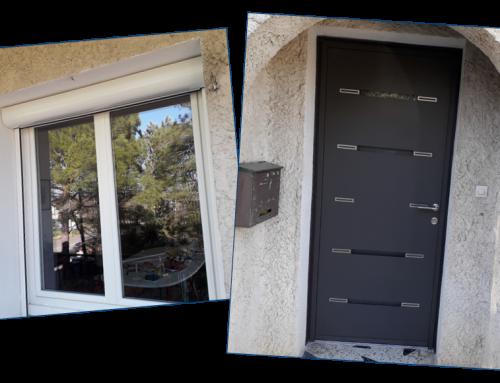 Fenêtres en PVC et volet roulant motorisé en aluminium, porte d'entrée en alu