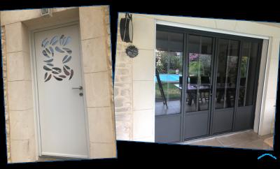 Porte d'entrée alu et porte-fenêtre 4 vantaux par GMA Fenêtre Alès