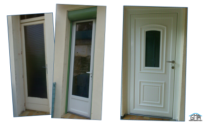 Porte-fenêtre et porte d'entrée en alu, volet roulant motorisé