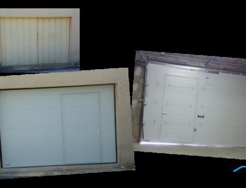 Installation d'une porte de garage sectionnelle motorisée avec portillon WINSOL