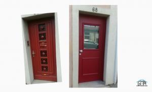 Porte d'entrée aluminium rouge GMA Fenêtres ALES