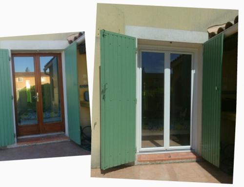 Remplacement par une porte-fenêtre en PVC à Bernis !