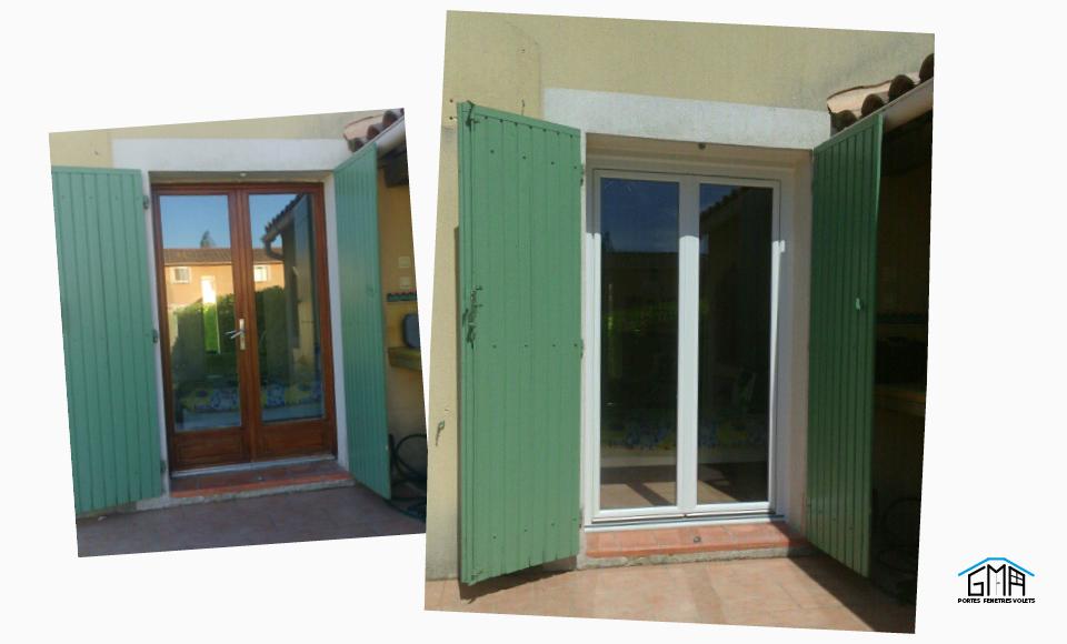 Porte-fenêtre en PVC blanc posée par GMA Fenêtres Alès à Bernis