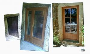 Porte-fenêtre PVC imitation bois GMA Fenêtres Alès