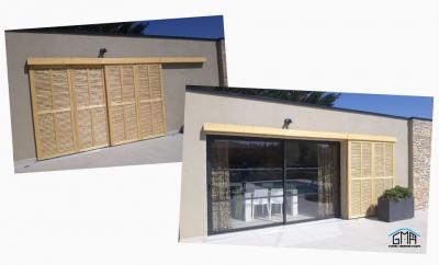 Volet coulissant en bois modèle Californien par GMA Fenêtres à Alès