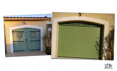 Porte de garage alu enroulable motorisee GMA Fenêtres Alès