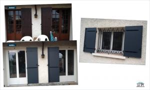 Portes fenetres PVC volets battant alu gris anthracite posés par GMA FENETRES ALES