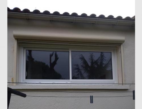 Fenêtre coulissante aluminium et volet roulant motorisé