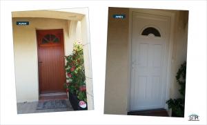 Porte d'entrée en PVC avec demi-lune vitrée GMA Fenêtres Alès