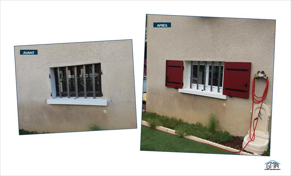 Fenêtree PVC blanc et volets battants alu rouge GMA Fenêtres Alès