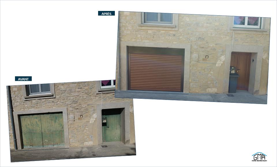 Porte de garage enroulable et porte d'entrée en PVC GMA Fenêtres Alès