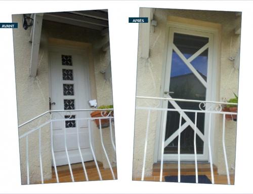 Porte d'entrée en PVC vitrée
