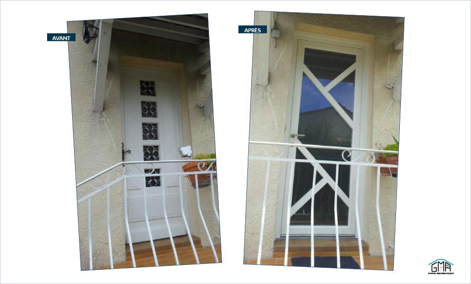 Porte d'entrée en PVC vitrée par GMA Fenêtres Alèss