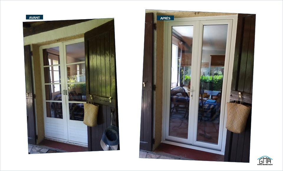 Porte fenêtre en PVC blanc GMA Fenêtres Alès