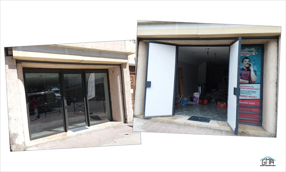 Porte vitrée en aluminium GMA Fenêtres Alès
