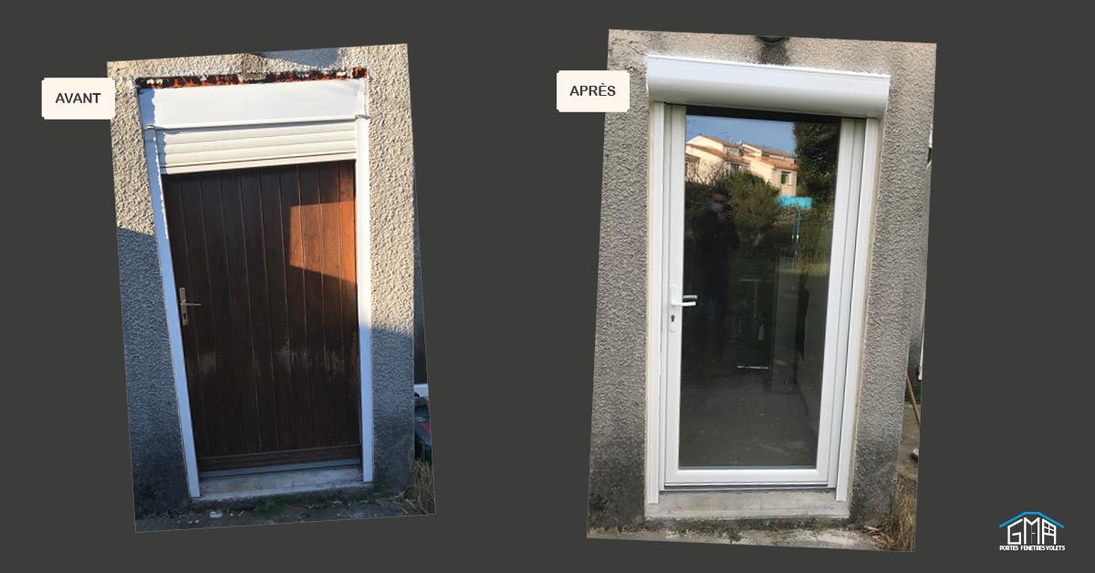 Porte fenêtre vitrée en PVC avec volet roulant en alu GMA FENÊTRES ALÈS