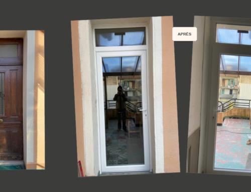 Rénovation d'une porte en PVC avec imposte fixe