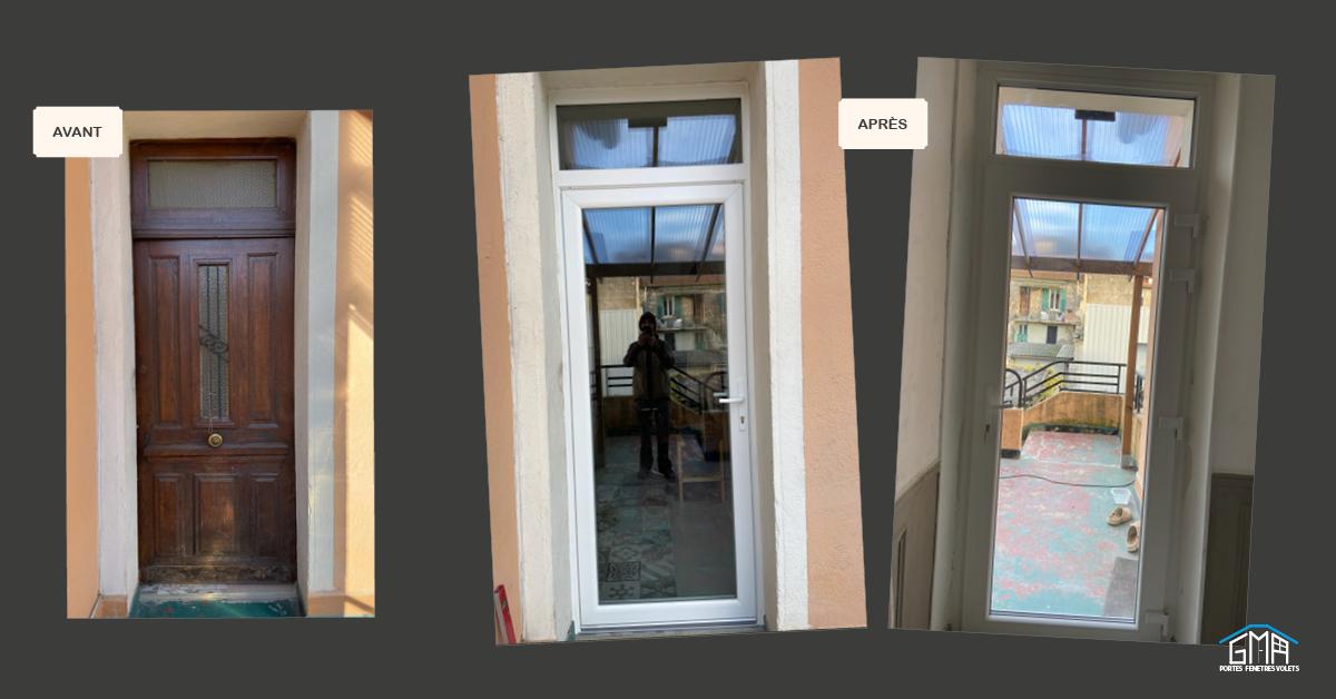 Porte fenêtre en PVC blanc avec imposte fixe GMA Fenêtres Alès