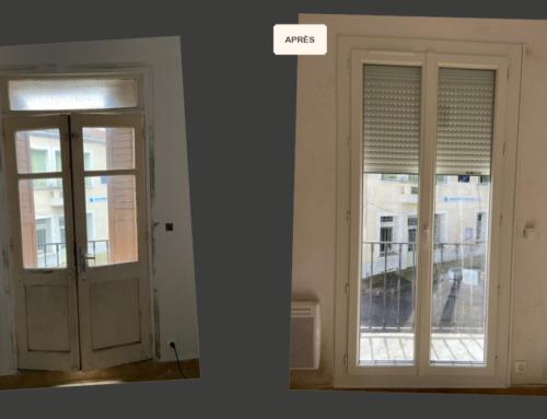 Porte fenêtre en PVC vitrée et volet roulant alu motorisé