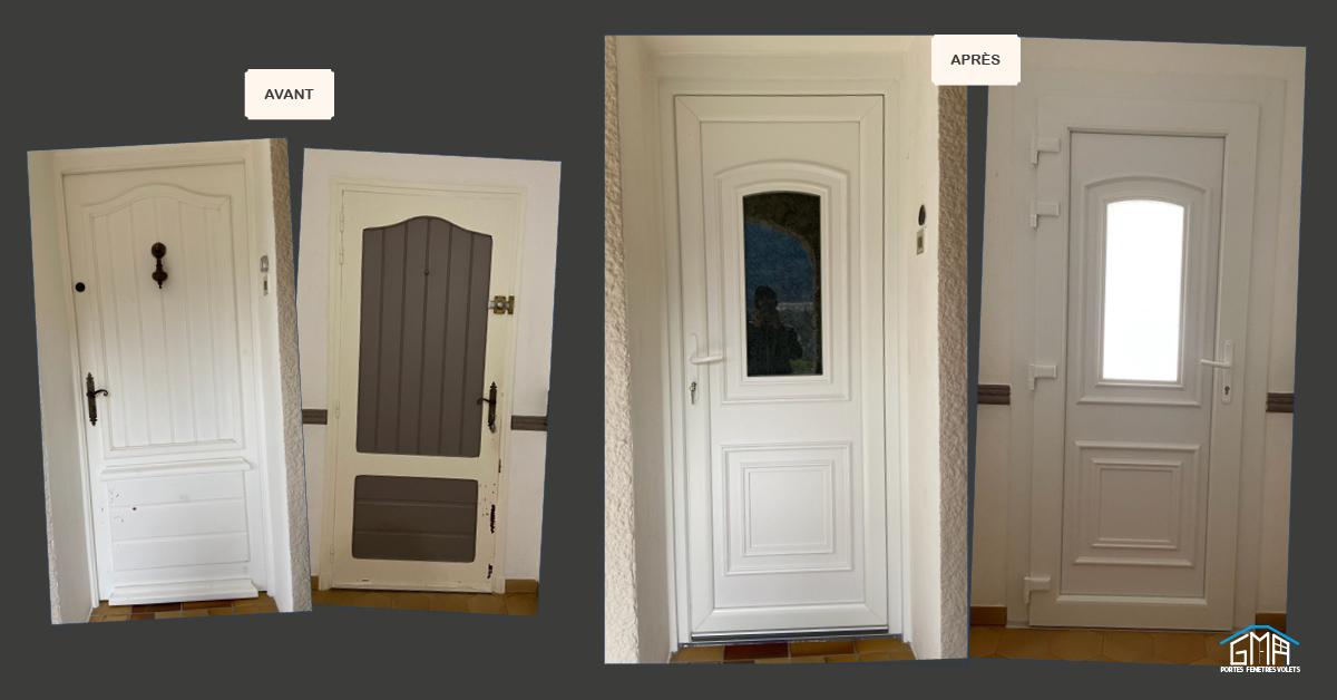 Porte d'entrée vitrée en PVC blanc par GMA Fenêtres Alès