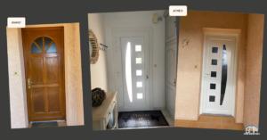 Porte d'entrée en PVC blanc avec panneau décor ajouré GMA Fenêtres Alès