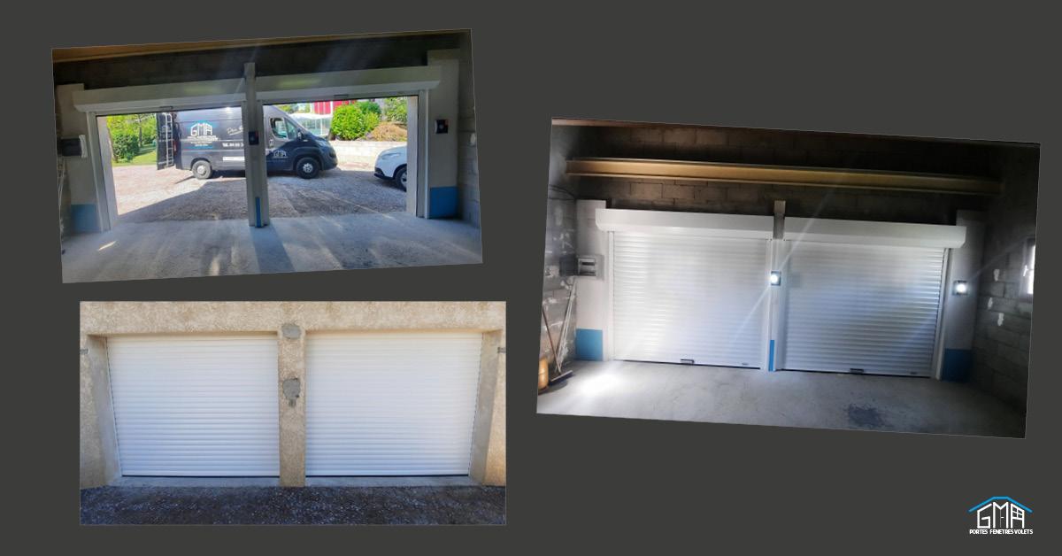 Portes de garage enroulables en aluminium blanc par GMA Fenêtres Alès